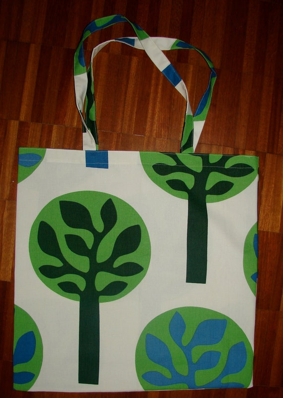 Retro Trees HUGE shopping tote from cotton canvas, Finland