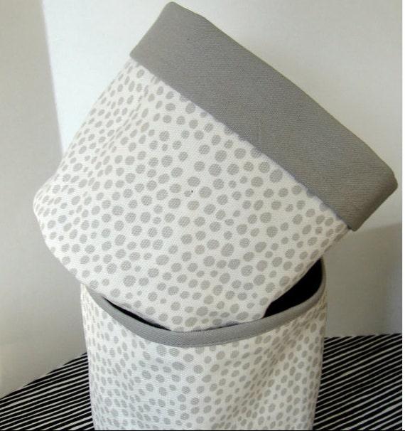 Pirput Parput Gray White Canvas Fabric Basket, Finland, US ship