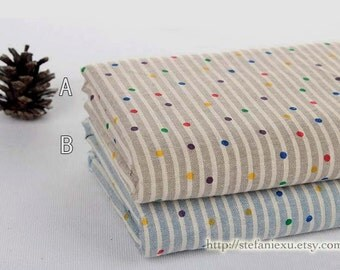 Retro Colorful Dots On Stripe - Japanese Dyed Soft Thin Linen Cotton Blended Fabric (1/2 Yard)