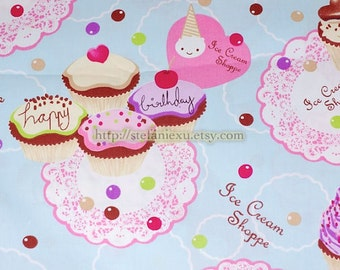 Shabby Chic Cupcake Dessert Lace Doily Afternoon Tea Party-Cotton Fabric (1/2 Yard)