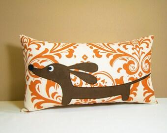 Doxie Dachshund Pillow - Doxie in the Pumpkin Spice Damask - Wiener Dog Autumn Home Decor