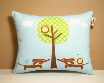 Dachshund Pillow - Doxies and Owl Polka Dot Tree - Whimsical Home Decor Fresh Blue