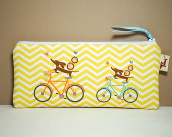 Dachshund Wiener Dog Pencil Case - Doxie and Owls Ride a Bicycle - Chevron Gadget Pouch