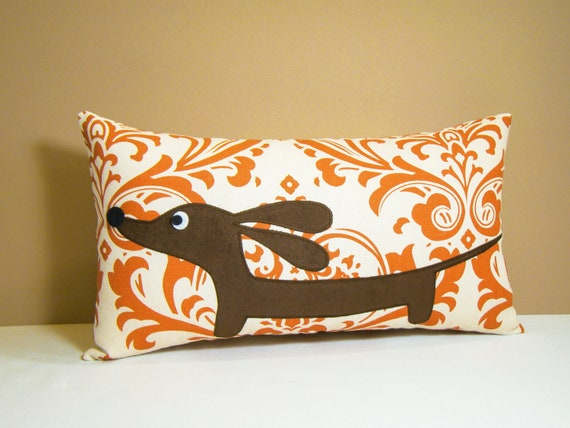 Doxie Dachshund Pillow - Doxie in the Pumpkin Spice Damask - Wiener Dog Autumn Home Decor
