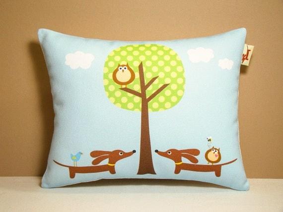 Dachshund Pillow - Doxies and Owl Polka Dot Tree - Whimsical Home Decor Fresh Blue