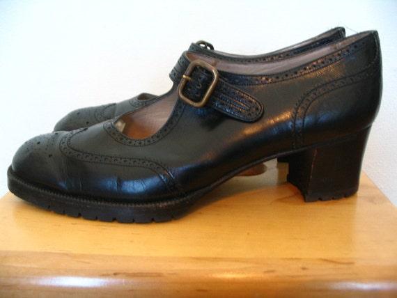 Yanko Spain Black Leather Downton Abbey Oxford Mary Janes Size 9.5 B