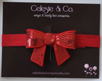 Christmas Headband - Baby Headband - Toddler Headband - Infant Headband - Red Sequin Bow - Photography Prop