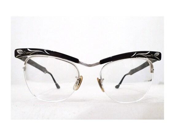Vintage Black Browline Cat Eye Eyeglasses Frames, 1950s 12k GF and Aluminium Sunglasses. Sale.