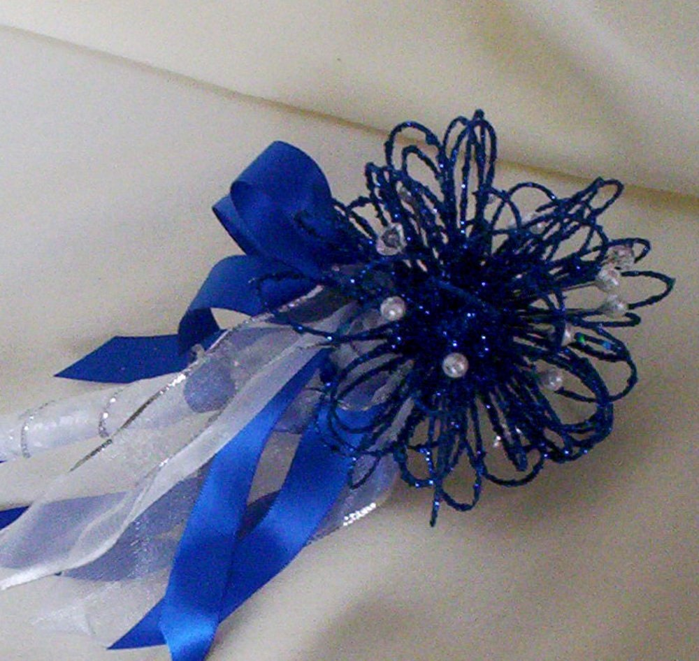 Royal Blue Fairy Flower Girl Wand Silver Bokay By AmoreBride