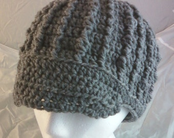 Crocheted Bobble Rib Brimmed Cap - Charcoal Gray Heather