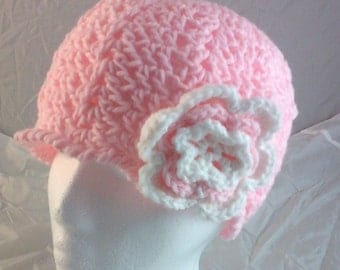 Lacy Scalloped Crocheted Beanie Cap with 3-Tiered 6-Petal Flower - Petal Pink White