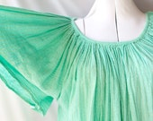 Vntg Grecian Hippie Blouse, Mint Green and Gold/ Boho Summer Top, Made in Greece, One Size / OS
