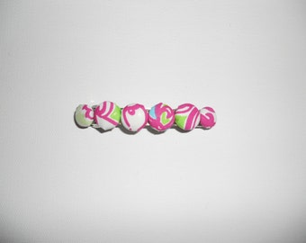 Preppy Lilly Pulitzer Inspired Pink, White and Green Hair Barrette