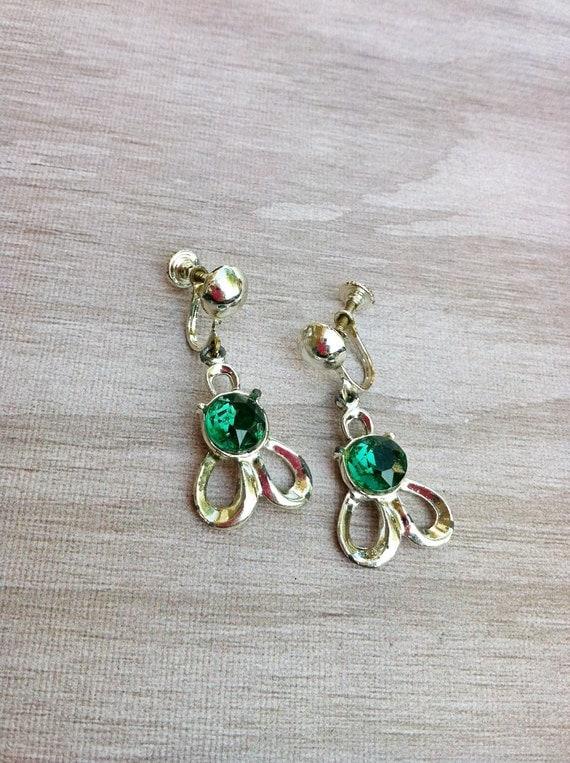 Vintage Silver Tone Metal Dangle Earrings with Green Rhinestones