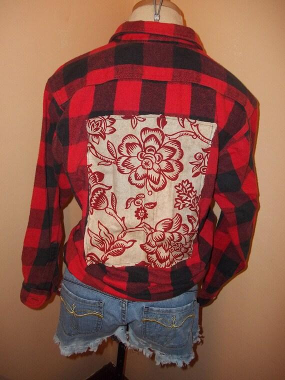 Reconstructed Vintage Black & Red Plaid Lumberjack Flannel Shirt Flower Back Patch Cotton Large Unisex
