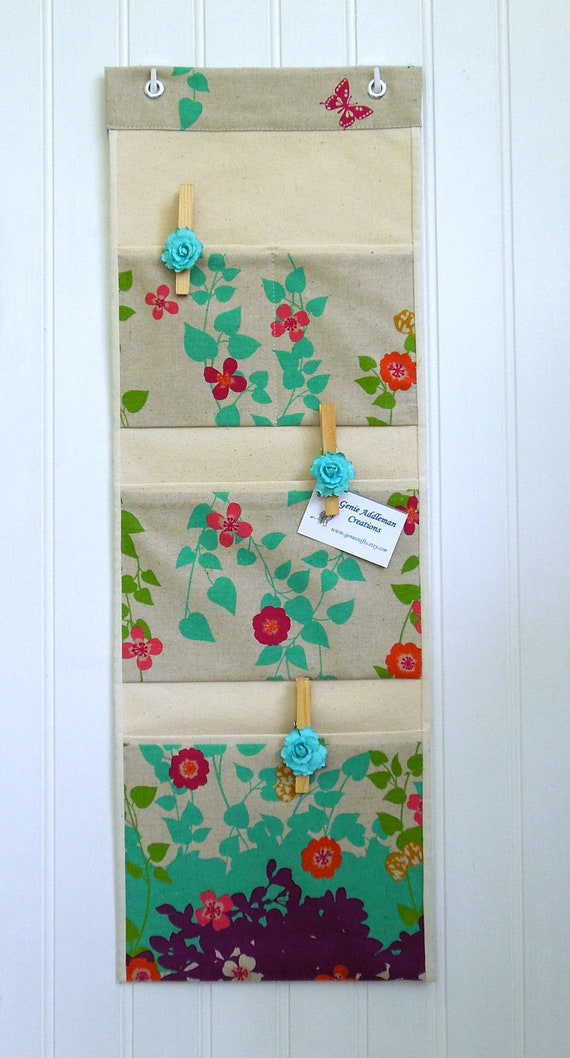Wall or Door Organizer in a Japanese Design of Flowers and Vines