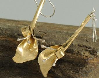 Calla Lily Earrings, Mixed Metal Earrings, Formed Metal Earrings