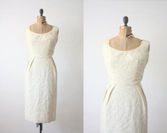 60's champagne wiggle dress - 1960s golden cocktail dress