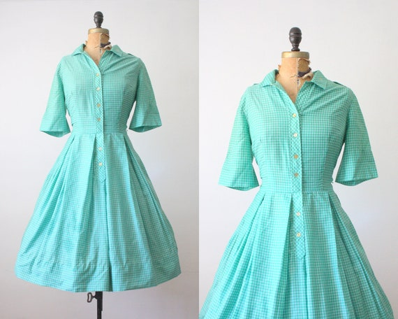 1950s dress- 50s green gingham party dress