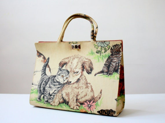 margaret smith bag - vintage dogs and cats handbag