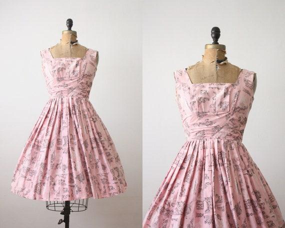 1950's dress - architecture print party dress