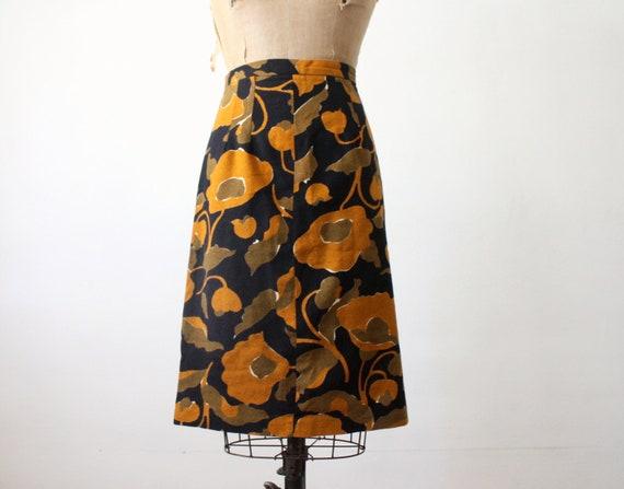 vintage 1960's mustard floral print skirt