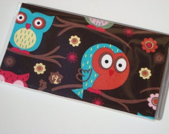 Checkbook Cover , Holder - Owls Sitin in a Tree On Brown