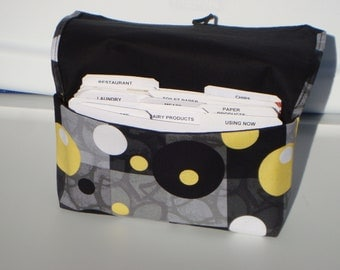 Fabric Coupon Organizer /Budget Organizer Holder - Attaches to Your Shopping Cart - Geo Circles - Gray Black, and Yellow