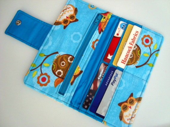 BiFold Long Wallet Clutch /Checkbook Cover -Owls on Teal