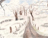 Road Through the Snow, Winter, White, Snowscene, print, 7 Card Draw, winter, snow, white, cold