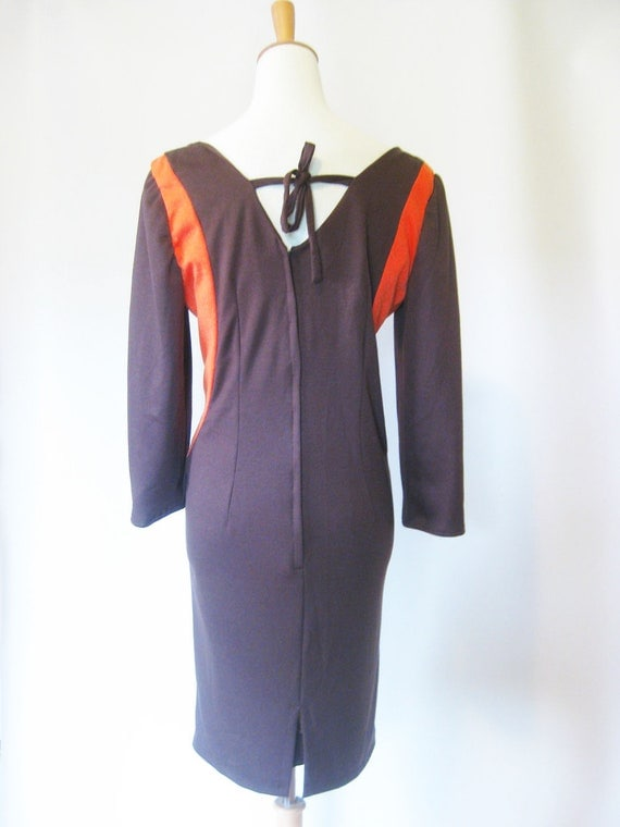 Vintage COLORBLOCK 1960s Party Dress 60s Xl Xxl Full Figured WIGGLE Indie Mod Mad Men