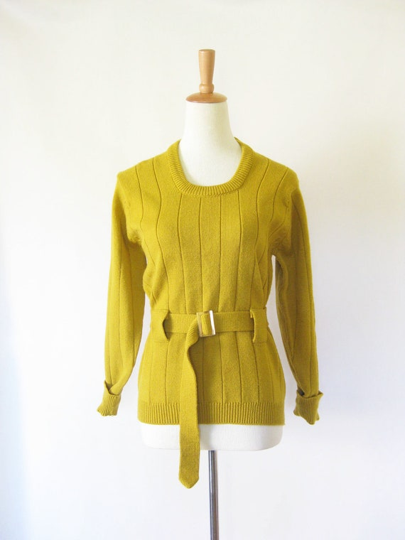 Vintage GOLDENROD Sweater Womens MAD MEN Belted Pull Over Small Medium S M Indie Hipster Mod Ladies Green