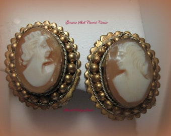 Vintage  Shell Cameo Earrings Bezel set in Gold Gilt