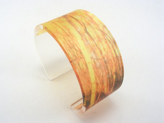 Golden Woodland Pattern Acrylic Bangle, Golden Birch Tree Photo Jewelry