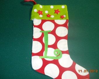 Festive Star cuffed L Stocking