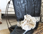 Justin Cowboy Boots - Womens - Black Leather - Tattered Flower and Lace Boot Anklet -  Farm Girl Style - Prairie Style - Size 7 B