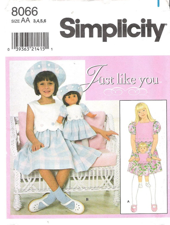 Adorable Simplicity 8066 Girl's and Doll's Matching Scalloped Sundress and Hat Sewing Pattern Uncut