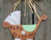 Baby Sleeping Sign BABY BUGGY - Hand Painted Wood