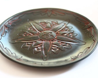 Vintage //// Chinese Hand Craved Cinnabar Plate
