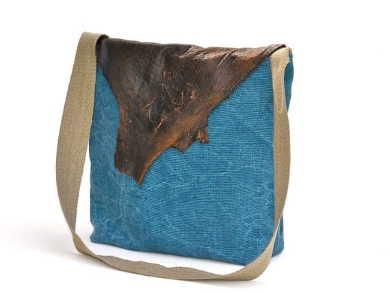 SALE -Last one Arva linen messenger bag with recycled brown leather flap / eco friendly /one of a kind cross body bag