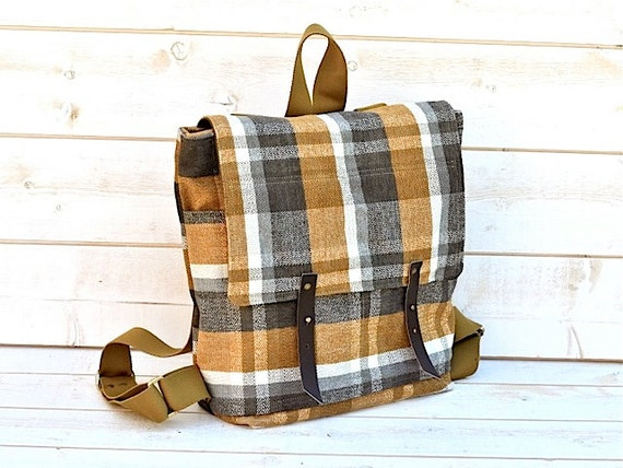 Ready to ship LAST ONE // Waterproof Plaid Backpack in Mustard 6 pockets Honey Gold titanium Whitecap Gray  French roast plaid preppy