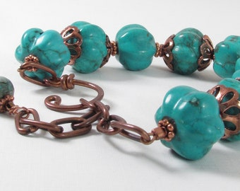 Pumpkin and Copper Chain Bracelet Handmade Jewelry