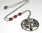 Tree Necklace, Silver Tree of Life with Red Glass Ladybug Beads, Silver Tree Pendant, 21 inches