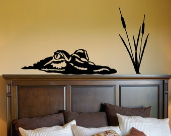 What's Lurking - Alligator Decal, Crocodile Decal, Cat Tails, Swamp Creature Decal, Lagoon Decal, Vinyl Wall Decal