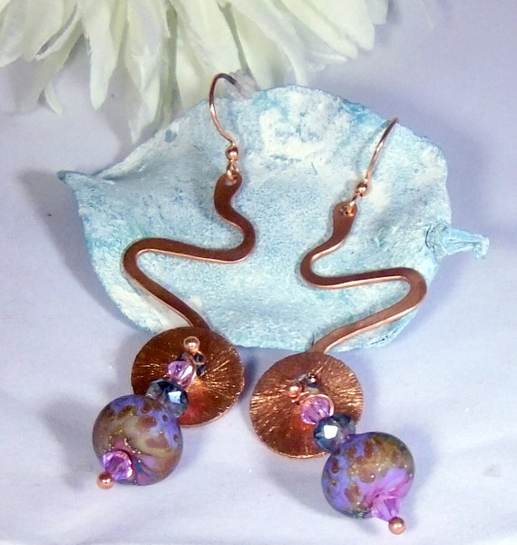 Hand-forged Copper and Poppy Gardens Handmade Lampwork Beads