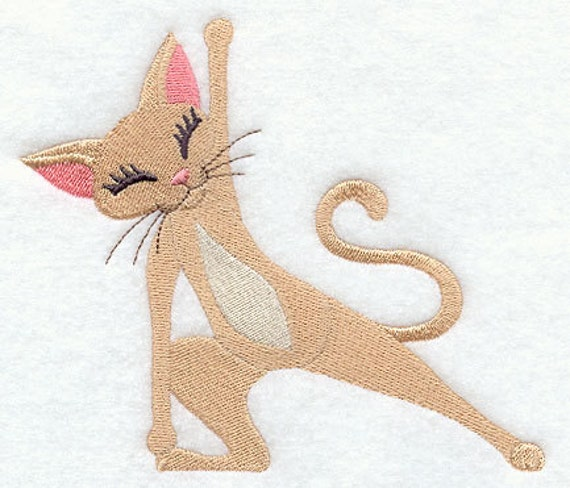 Embroidered Terry Cloth Hand Towels: Yoga Kitty Lunge Embroidered Terry Kitchen Towel Bathroom Hand