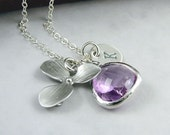 Orchid Necklace Personalized, Lavender Purple Glass Drop and Custom Initial Necklace - 'Isobella' - Sterling Silver, Purple Wedding Jewelry