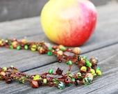 Apple delight - Long strand necklace / bracelet - versatile lariat necklace wrap bracelet anklet  - ohtteam - free worldwide shipping