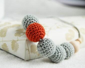 Pumpkin grey - nursing necklace breastfeeding teething toy statement jewelry strand necklace - rusteam ohtteam- pumpkin orange white grey