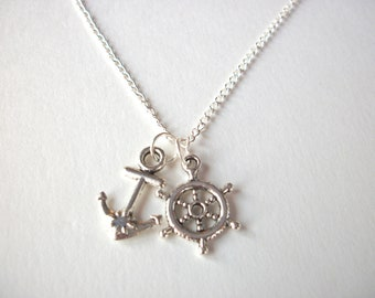 Silver Nautical Necklace anchor charm and helm wheel jewellery